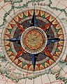 Center compass rose in 1543 France, from- Guillaume Brouscon. World chart, which includes America and a large Terra Java (Australia). HM 46. PORTOLAN ATLAS and NAUTICAL ALMANAC. France, 1543 (cropped).jpg