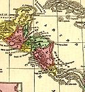 Historical map of Central America (1860)
