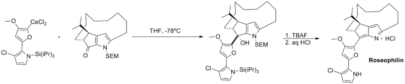 Total synthesis of roseophilin using an organocerium reagent