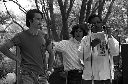 Cesar Chavez speaking at a 1974 United Farm Workers rally in Delano, California. The UFW during Chavez's tenure was committed to restricting immigration. Cesar chavez2.jpg