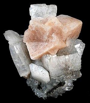 Chabazite - Salmon-pink chabazite on white heulandite