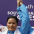 Chaoba Devi Elangbam (INDIA) in 30 km Individual Time Trial - Women Elite (WE) of cycling, at 12th South Asian Games-2016 along NH 37, at Tepesia (cropped).jpg