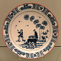 Charger with Shiba Onko Design, c. 1730, Delft, tin-glazed earthenware with inglaze cobalt - Gardiner Museum, Toronto - DSC00572.JPG