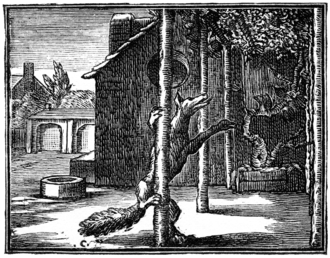 The Fox and the Grapes - The illustration of the fable by François Chauveau in the first volume of La Fontaine's fables, 1668