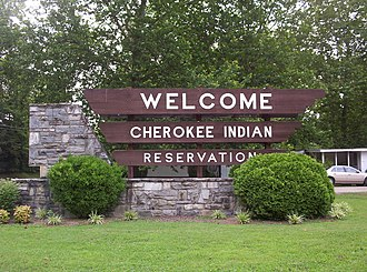 Qualla Boundary - Cherokee Indian Reservation sign