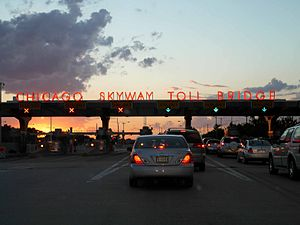 Interstate 90 in Illinois - Toll plaza along the Chicago Skyway.