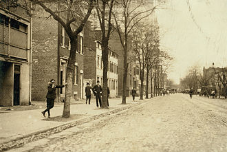 """Pennsylvania Avenue National Historic Site - C Street NW near 13th Street NW in 1912: Known from the mid-1800s to the 1920s as """"Murder Bay,"""" this area was home to numerous brothels."""