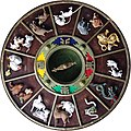 Chinese Zodiac carvings on ceiling of Kushida Shrine, Fukuoka.jpg