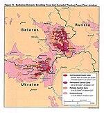 מפה המציגה את הזיהום שנגרם על ידי צזיום-137 בבלארוס, רוסיה, ואוקראינה. ביחידות קירי לקילומטר מרובע.