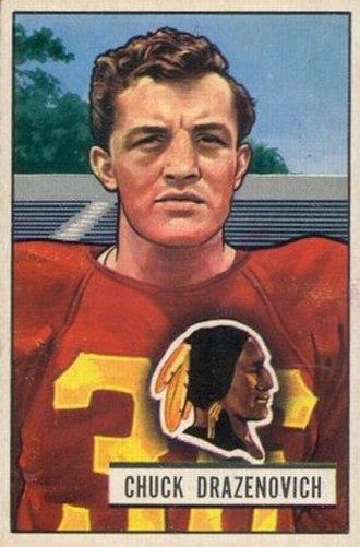 Chuck Drazenovich - Drazenovich on a 1951 Bowman football card