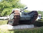 Churchill Crocodile tank, front three-quarters view, Musée-Mémorial de la Bataille de Normandie.JPG