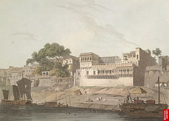 Patna - City of Patna, on the River Ganges, 19th-century painting.