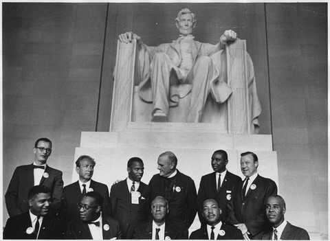 Leaders of the civil rights movement's 28 August 1963, March on Washington in front of the statue of Abraham Lincoln Civil Rights March on Washington, D.C. (Leaders of the march posing in front of the statue of Abraham Lincoln... - NARA - 542063.tif