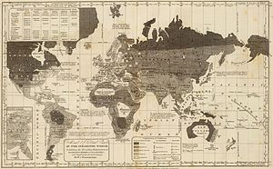 "Major religious groups - An 1821 map of the world, where ""Christians, Mahometans, and Pagans"" correspond to levels of civilization (the map makes no distinction between Buddhism and Hinduism)."
