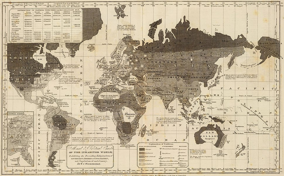 Civilization and religion map 1821