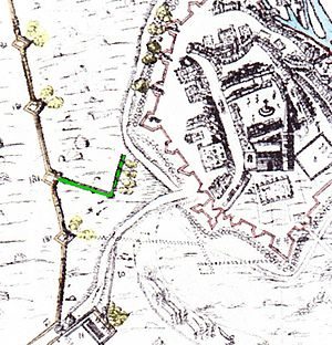 Sapping - A detail from the Clampe's map of the siege of Newark (6 March 1645 – 8 May 1646) showing in green a sap that allows Roundhead siege artillery to be placed closer to the fortifications of Newark than the circumvallation. Notice that the lines of advance of the zig-zag are at such an angle and position that the defenders were unable to bring enfilade fire to bear.
