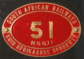 South African Class NG G11 2-6-0+0-6-2 - Bilingual plate