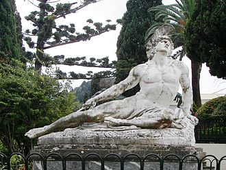 Achilleion (Corfu) - Dying Achilles (Achilleas thniskon) in the gardens of the Achilleion. Note Achilles' gaze skywards as if to seek help from Olympus: his mother Thetis was a goddess