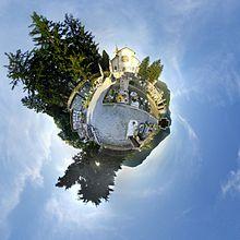Cmglee Wikimania2016 Esino Lario cemetery tinyplanet.jpg