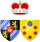A quartered shield. Upper left and lower right are a blue and grey diamond crosshatch. Upper right and lower left are a crowned yellow lion rampant on a black field, over all, in the centre, is a small red shield bearing a gold cross atop the middle of three gold hills.