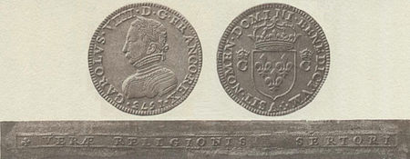 An obverse and reverse image of a coin, with the edge pictured below