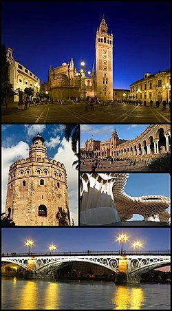 "Clockwise from top: Seville Cathedral and Giralda, Plaza de España in the Maria Luisa Park, Metropol Parasol, the Isabel II (""Triana"") bridge and the Torre del Oro."