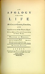 "A book's title page inscribed ""An Apology for the Life of Mr. Colley Cibber, Comedian"""