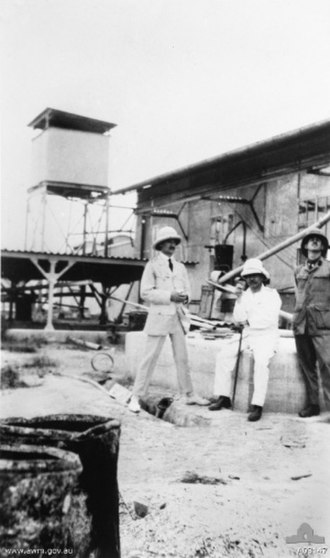 Battle of Bita Paka - Colonel Holmes and two unidentified officers at the wireless station at Bita Paka after its capture.