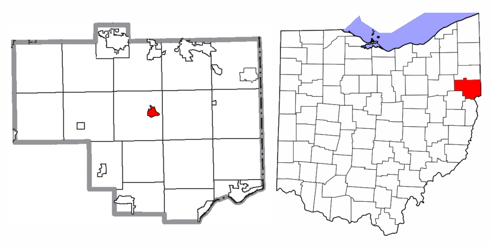 Location of Lisbon in Columbiana County and in the State of Ohio