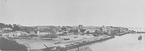 Commercial Bay - The new seawall in 1859, before the land behind it was infilled. Today, Customs Street runs along the seawall line.