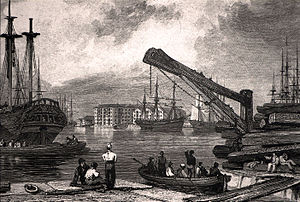 George Cooke (engraver) - Commercial Docks, Rotherhithe, London (engraved after unknown artist, 1827)