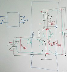 basic common emitter circuit illustrating voltage drops and currents