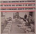 Conseil des ministres décide la fermeture des facultés des lettres et de droit et sciences economiques jusqu'en septembre 1972.jpg
