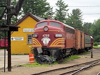 Conway Scenic Railroad - Display EMD F7 beside the 1874 North Conway freight depot