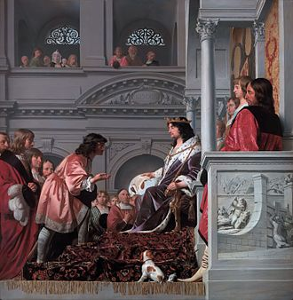 Water board (Netherlands) - 1654 painting by Cesar van Everdingen and Pieter Post, depicting William II of Holland granting privileges in 1255 to the Spaarndam dijkgraaf and hoogheemraden, the organisation that would evolve into the Hoogheemraadschap van Rijnland