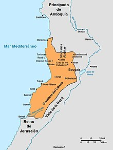 Three crusader states along the coast of the Mediterranean Sea and the nearby territories