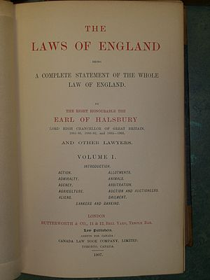 Halsbury's Laws of England - The title and copyright page of volume 1 of the first edition of Halsbury's Laws of England (1907).