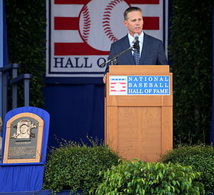 Craig Biggio - Biggio speaking at the 2015 National Baseball Hall of Fame induction ceremony