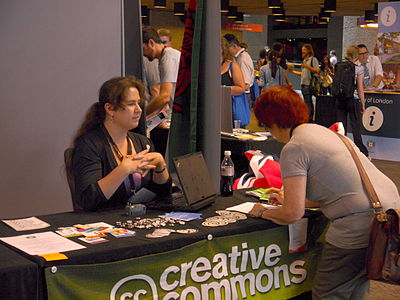 Creative Commons stand in the Wikimania 2014 communities village at 11am on Friday 01.jpg