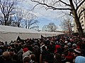 Crowd awaiting Orange Gate security tents; 2013 US Presidential Inauguration.jpg