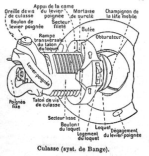 Rifled breech loader - de Bange interrupted screw breech.