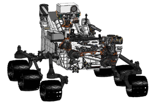 Exploration of Mars - A diagram of the Curiosity rover, landed on Mars in 2012.