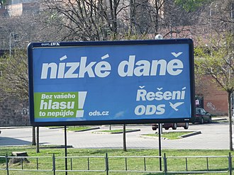 2010 Czech legislative election - ODS billboard promising lower taxes