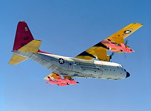 Lockheed DC-130 - A US Navy DC-130H preparing to launch a pair of  BQM-34 Firebee target drones.