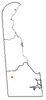 Location of Bridgeville, Delaware
