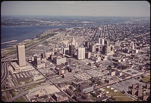 History of Buffalo, New York - Downtown Buffalo in 1973, showing the then-Marine Midland Tower, Niagara River and Buffalo's Lower West Side.