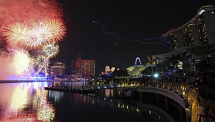 A midnight fireworks show in Marina Bay, Singapore, welcoming 2012. DSC 4864 2012 New Year Fireworks.jpg