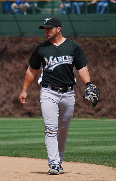 Dan Uggla with the Florida Marlins, at Wrigley Field in 2009