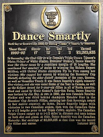 Dance Smartly - Dance Smartly's plaque at the National Museum of Racing and Hall of Fame