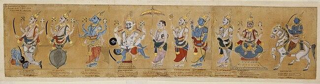 https://upload.wikimedia.org/wikipedia/commons/thumb/0/07/Dasavatar,_19th_century.jpg/650px-Dasavatar,_19th_century.jpg
